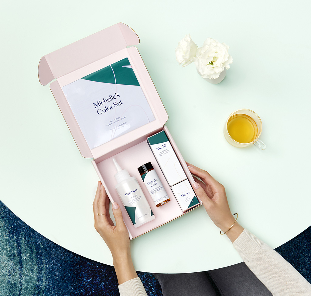 eSalon box of color with womans hands